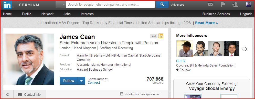 linkedin profile james caan